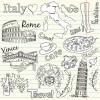イタリア&オーストラリアに関するベクター手書きイラスト(EPS)