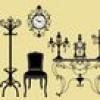 シャンデリアやキャンドル、インテリア家具などシルエット・イラスト素材集(EPS)
