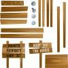 文書にアクセント! 木製の案内板ベクターイラスト素材(EPS)