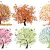 オールシーズン対応! 抽象的な春夏秋冬ベクターツリー5種(EPS)