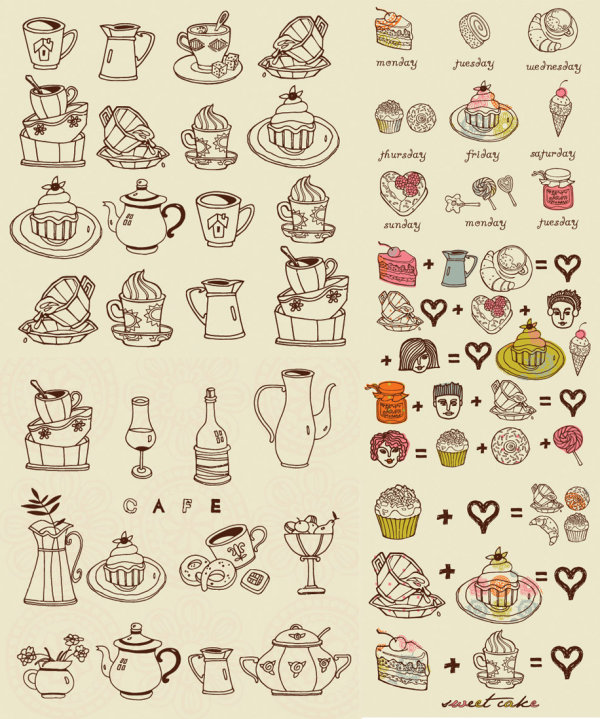 Coffee,snacks,vector,materia