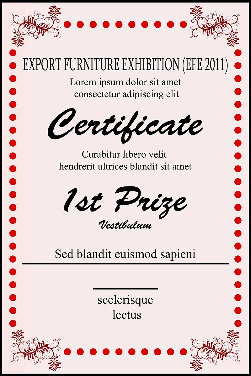 Free style all free for First prize certificate template