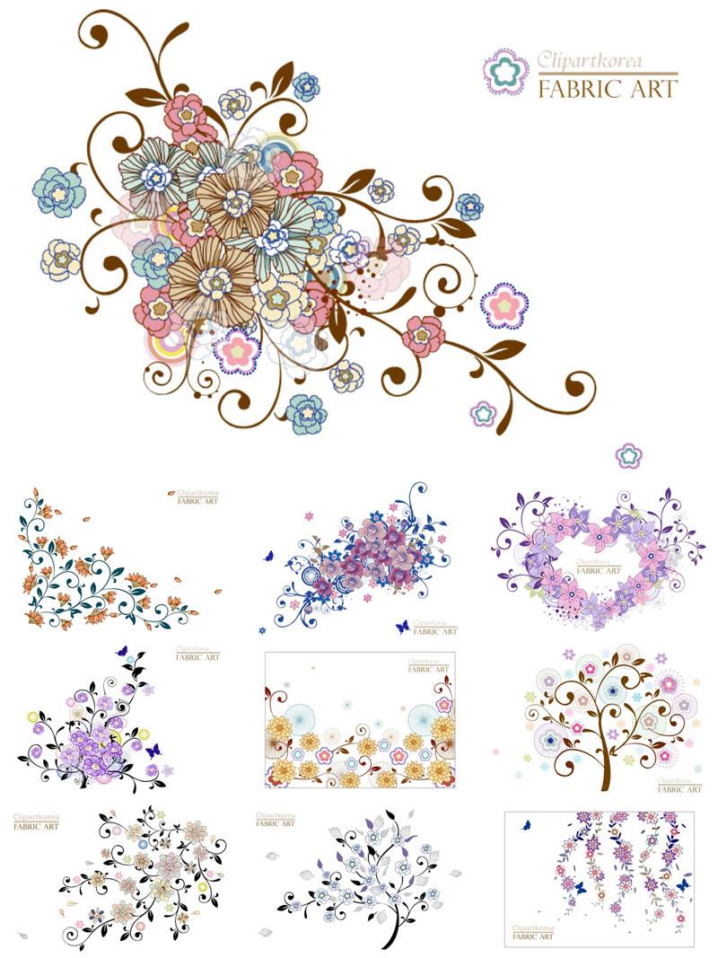 colorful,decorative,floral,elements,vector
