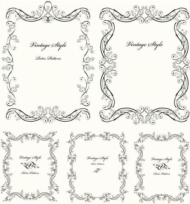 アイビーの葉っぱがキュートヴィンテージフレーム飾り枠 5種類eps
