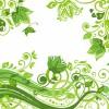 グリーンフローラルな春っぽい背景素材(商用可あり・EPS)