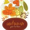 秋をイメージした落ち葉のイラスト素材、背景素材のset