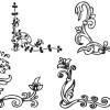 無料ベクター素材、植物系コーナー飾りアート(EPS)