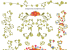 小さめの 『 お花 』 と 『 つる 』 のベクター飾り罫