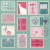 結婚式の招待状に!ヴィンテージなウェディングカードのテンプレート集(EPS)