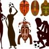 エスニック風クリップアート・イラスト素材(古代壁画、仮面)