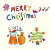 見てるだけで楽しい! 子供が書いたクリスマスの手書きイラスト素材(EPS)