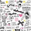 超キュートな手書きイラスト素材&かわいいフレーズ集(無料ベクター)