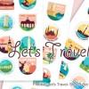 Let's Travel!観光地をモチーフにした28個の無料ベクターステッカーセット(商用可・AI・EPS)