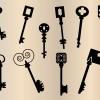 ヴィンテージな鍵(キー)のシルエット・イラスト素材(ベクターデータ)