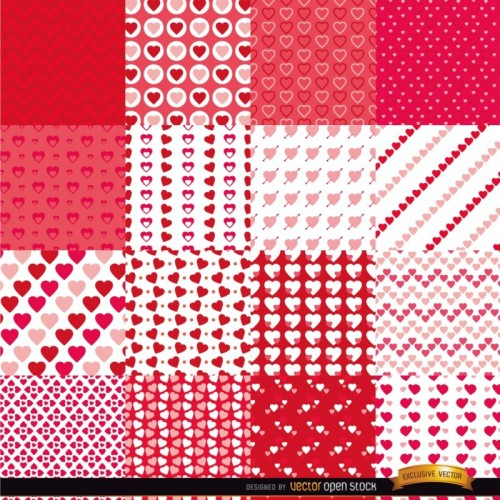 16 pattern cuori - Valentines Day seamless patterns