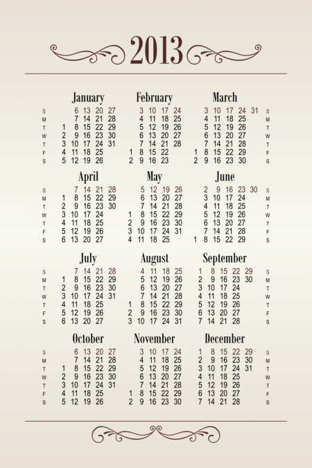 2013 Creative Calendar Collection design vector material 24