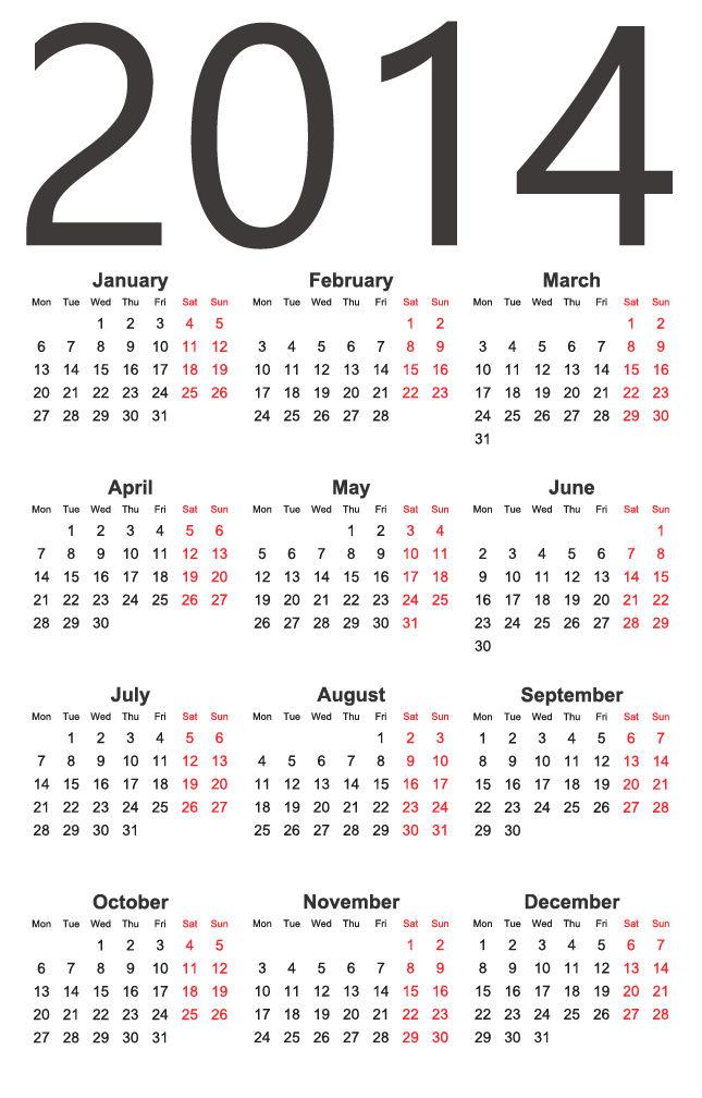 2014 Calendar Vector Free : カレンダー フリー 2014 : カレンダー