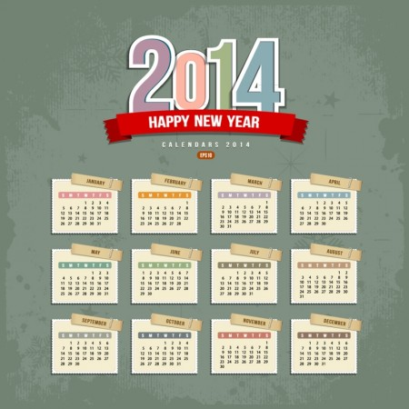 2014 calendar vector graphics
