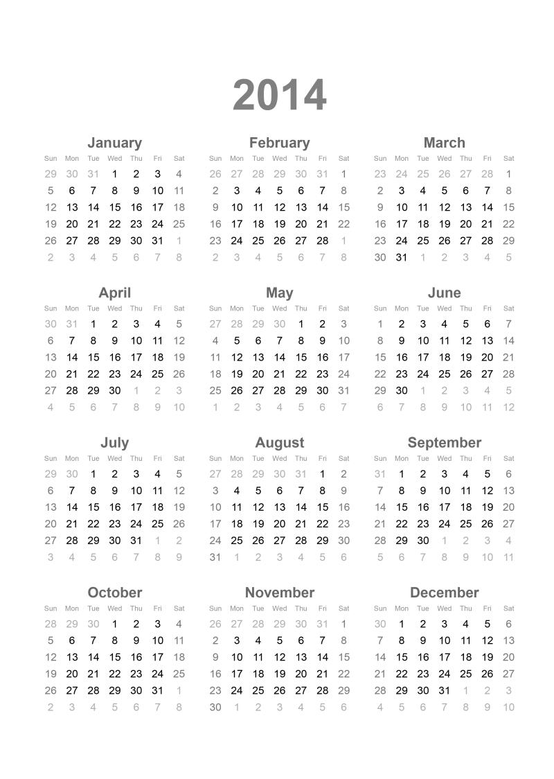 カレンダー 2014 カレンダー シンプル : 2014 Calendar Printable