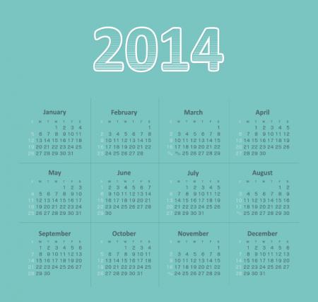 30029-Vector-2014-all-months-Green-Calendar