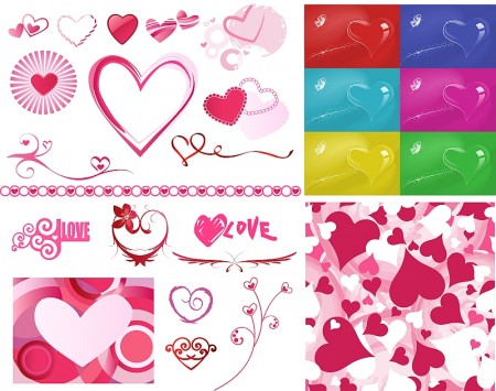 A-variety-of-Valentines-Day-heart-shaped-vector-450x355
