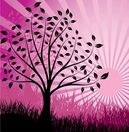 Abstract Pink Sunset Tree Silhouette Background large