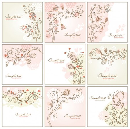 Abstract Swirls Floral Vector Set
