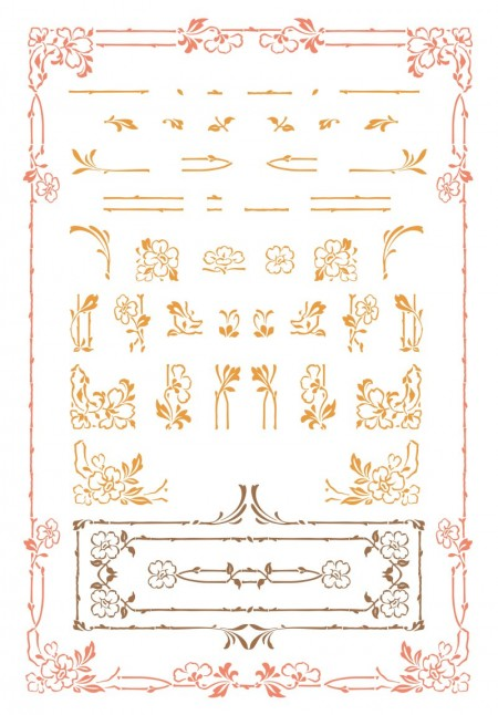 Art Nouveau Floral Vector Set
