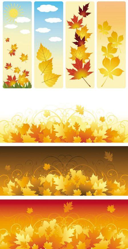 秋をイメージした落ち葉の ...