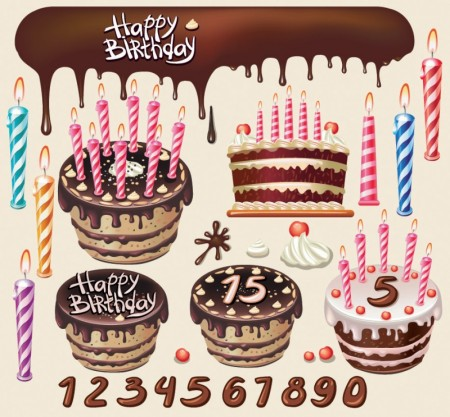 Beautiful birthday cake vector graphics