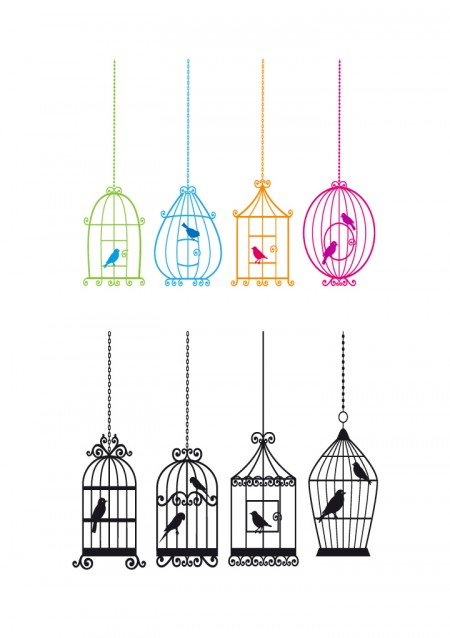 Bird and birdcage vector Vector Animal