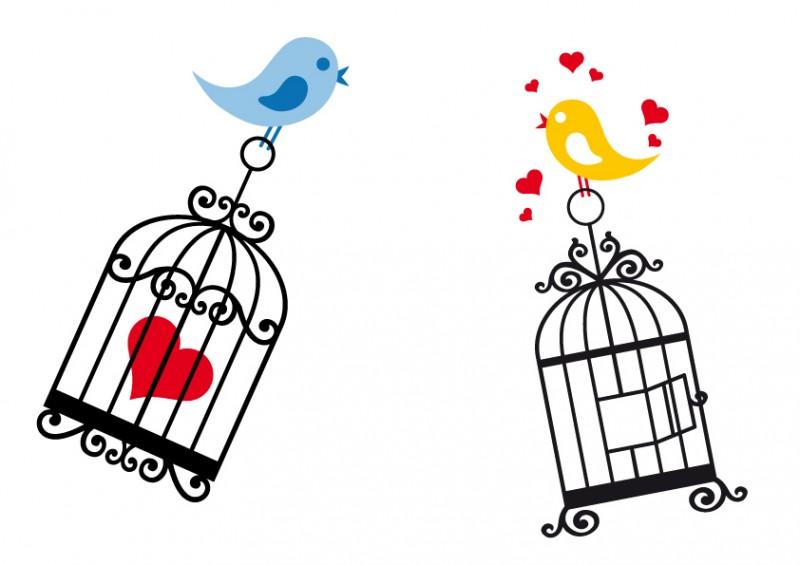 ロマンティック素材かわいい鳥かごと小鳥の無料イラストを集めました