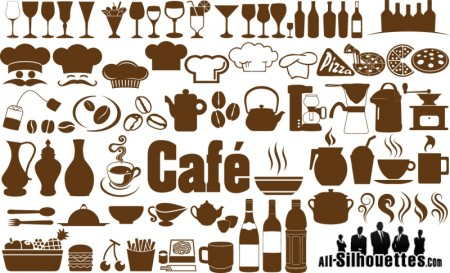 Cafe, restaurant icons, symbols