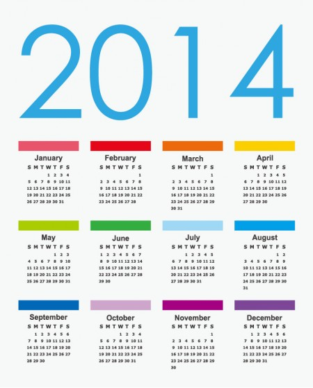Calendar 2014 Vector Graphic