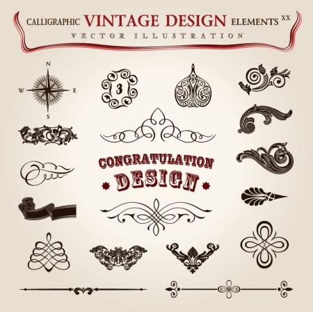 Calligraphic vintage design elements vector set 5 (8)