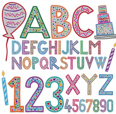 Cartoon-Birthday-Alphabet-Vector-450x444