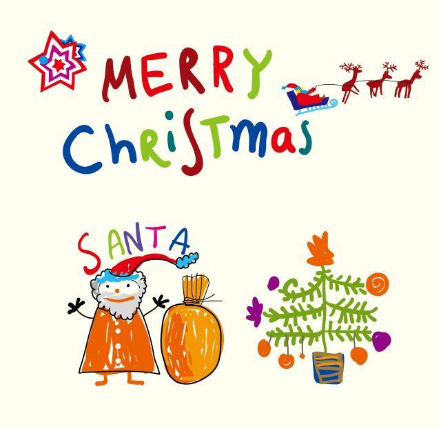 見てるだけで楽しい子供が書いたクリスマスの手書きイラスト素材eps