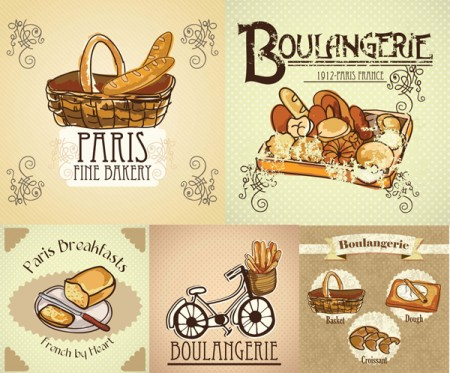 Cartoon illustration of bread vector set