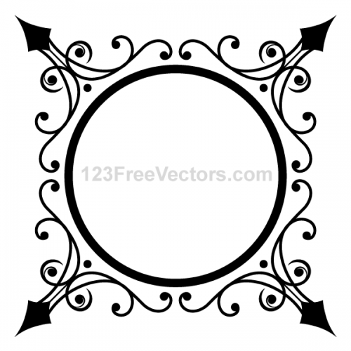Circle-Ornate-Frame-Vector-Graphics-500x500