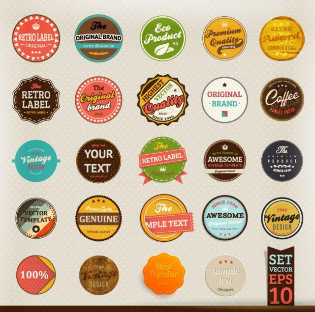 グローバルフォント フォント飾り : Stickers Retro Vintage Vector