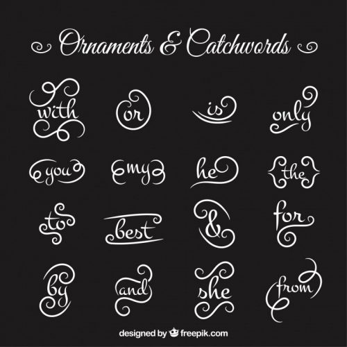 collection-of-ornament-and-catchword-in-blackboard-effect-vector
