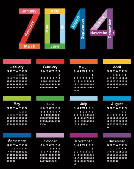 Colorful Calendar 2014 Vector