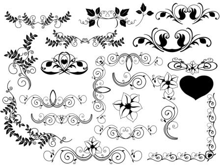 Corners and Dividers Free Flourish Vectors 450x330 葉っぱ・花・つるのイラストがかわいい!フローリッシュな飾り枠・飾り罫(AI)   Free Style
