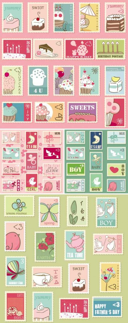 Cute-Stamps-Vector-450x1130