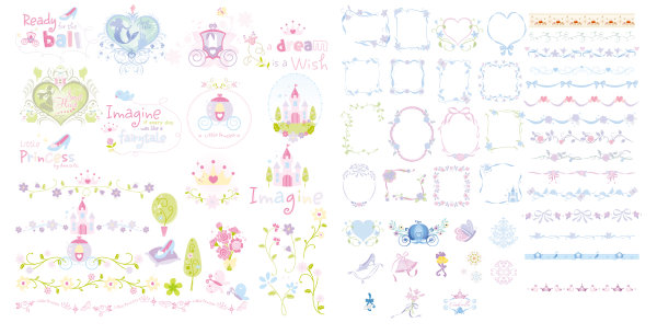 Cute lace Frames and Borders vector set ...