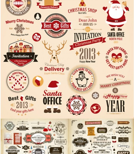 Different-vintage-Christmas-labels-elements-vector-set-450x516
