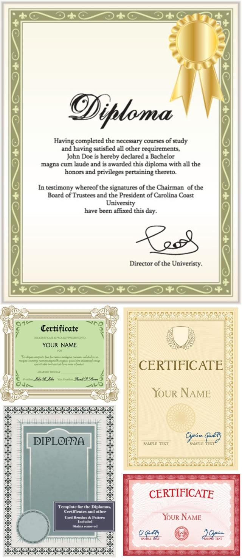 Diplomas and certificates design vector ...
