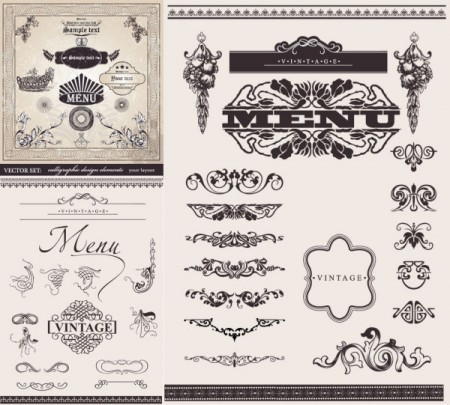 European Decorative Lace Pattern Vector Graphic 02