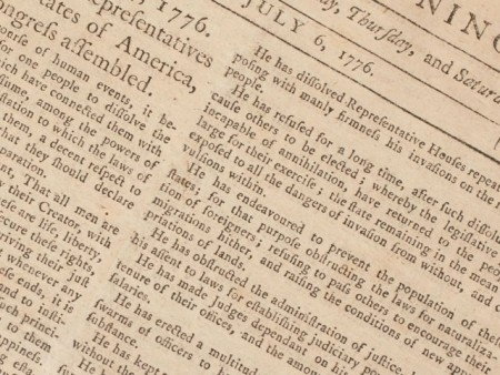 First Newspaper Printing of the Declaration