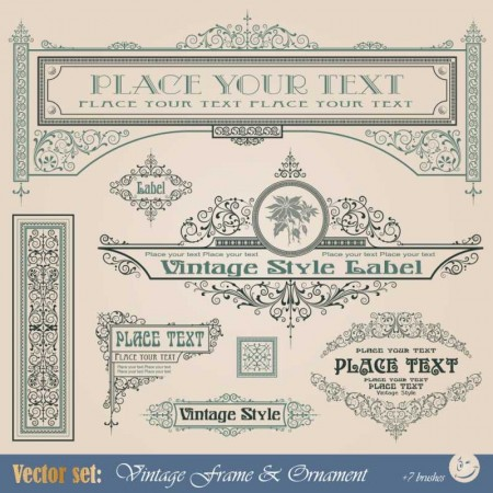 Frame-border-ornament-and-element-in-vintage-style-vector-set-5-4-450x450